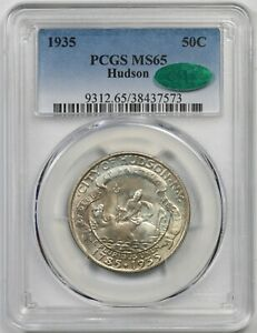 1935 HUDSON 50C PCGS/CAC MS 65  TONED  EARLY SILVER COMMEMORATIVE HALF DOLLAR