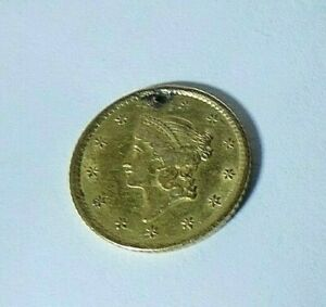 ANTIQUE 1853 1 DOLLAR LIBERTY GOLD COIN WITH HOLE IN EXTRA FINE CONDITION