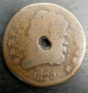 1829 CLASSIC HEAD HALF CENT PENNY 1/2 C HOLED CHEAPEST ON EBAY BROWN