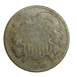 1868 SHIELD 2C CENT PIECE CIRCULATED ORIGINAL COIN   491
