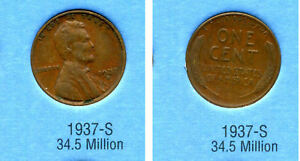 LINCOLN HEAD WHEAT CENT 1937 S AVERAGE CIRCULATED UNITED STATES 1 PENNY COIN B6