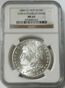 1885 CC CARSON CITY MORGAN SILVER DOLLAR VAM 4 DOUBLED DASH $1 COIN NGC MS 63