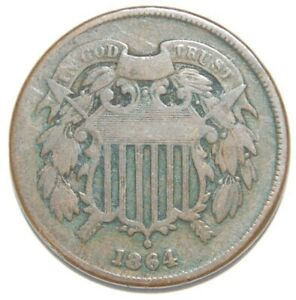 1864 SHIELD TWO CENT PIECE UNCERTIFIED/UNGRADED