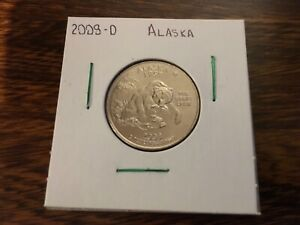 2008 D ALASKA STATE QUARTER UNCIRCULATED FROM BANK ROLL IN 2X2 HOLDER
