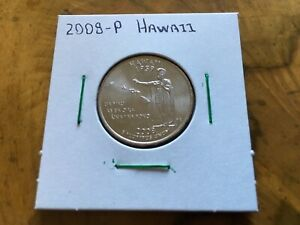 2008 P HAWAII STATE QUARTER UNCIRCULATED FROM BANK ROLL IN 2X2 HOLDER