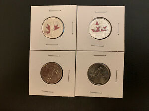 2009 CANADIAN QUARTERS MEN'S/WOMEN'S HOCKEY 4 COINS SET 2 RED COLORED