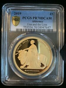Click now to see the BUY IT NOW Price! 2019 UNA AND THE LION ALDERNEY UK 5 POUNDS 1.17 GOLD PCGS PR70DCAM MINTAGE: 400