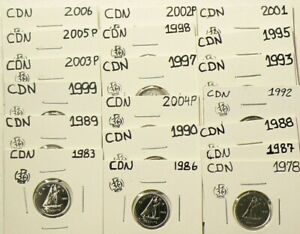 1978 TO 2006P CANADA 10 CENTS LOT OF 19 FROM SETS UNC 5229