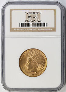 1910 D INDIAN HEAD EAGLE GOLD $10 MS 63 NGC
