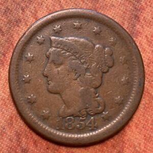 1854 BRAIDED HAIR US LARGE CENT  2