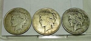 SIX SILVER PEACE DOLLARS 2 1922 3 1923 1924 AND 1926. SHIP 1 6 FOR ONLY 99C