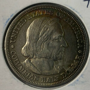 UNCIRCULATED 1892 COLUMBIAN EXPOSITION SILVER HALF DOLLAR RAINBOW TONING