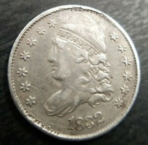 1832 CAPPED BUST HALF DIME LY  FINE XF EF DETAILD HOLED/REPAIRED