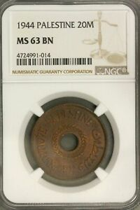 Click now to see the BUY IT NOW Price! PALESTINE  20 MILS 1944  NGC  MS 63 BN    KEY DATE