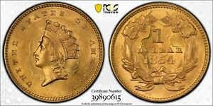 1854 GOLD $1 PCGS MS 63 TYPE 2 CAC APPROVED
