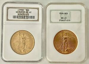 2  U.S. $20 ST. GAUDENS GOLD COINS GRADED & SLABBED BY NGC 1908 MS62 & 1928 MS61