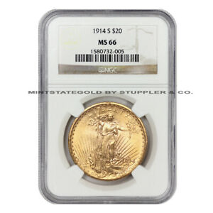 ONLY 4 FINER 1914 S $20 SAINT GAUDENS NGC MS66 GEM GRADED GOLD DOUBLE EAGLE COIN