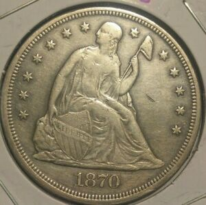 1870 P SEATED LIBERTY ONE DOLLAR PERFECT TYPE COIN