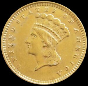 1857 GOLD UNITED STATES PRINCESS HEAD $1 DOLLAR COIN