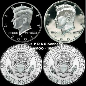 2001 P D S S SILVER & CLAD PROOF AND P&D KENNEDY HALF DOLLAR 4 COIN SET