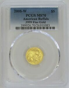 2008 W GOLD $5 BUFFALO 1/10 OZ COIN PCGS MINT STATE 70