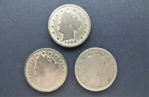 3  V LIBERTY NICKELS 5 CENT PIECES 1906 1907 1911