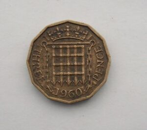 BRITISH 1960 THREE PENCE COIN. QEII.