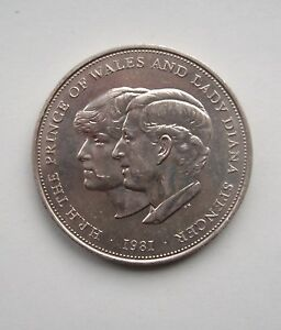 UNITED KINGDOM 1981 CHARLES & DIANA ROYAL WEDDING CROWN. BRITISH COIN.