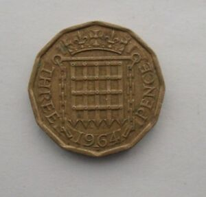 BRITISH 1964 THREE PENCE COIN. QEII.