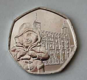 BRITISH 2019 PADDINGTON BEAR AT THE TOWER OF LONDON 50P COIN. FIFTY PENCE COIN