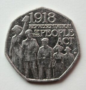 BRITISH 2018 REPRESENTATION OF THE PEOPLE ACT 50P COIN. FIFTY PENCE COIN.