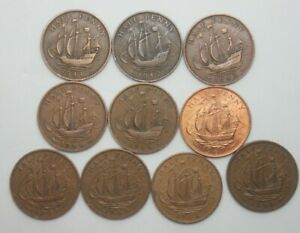 10 X OLD ENGLISH HALF PENNY COINS   DIFFERENT DATES GEORGE V1 & QE 11  1.95