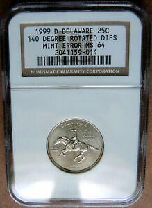 1999 P DELAWARE STATE QUARTER NGC MS64 MINT ERROR DIES ROTATED 140 DEGREES