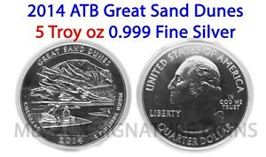 2014 GREAT SAND DUNES .999 FINE SILVER AMERICA THE BEAUTIFUL 5 OZ ATB W CAP BU