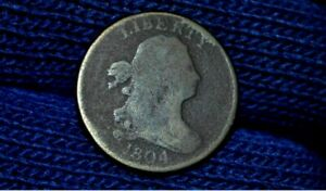 1804 HALF CENT   C9    CROSSLET 4    WITH STEMS     OBV CUD    GOOD DETAILS