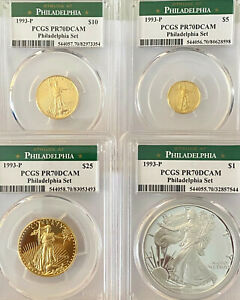 Click now to see the BUY IT NOW Price! 1993 P PHILADELPHIA SET GOLD EAGLES $25 $10 $5 AND SILVER EAGLE $1 PCGS PR70DC