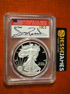 2012 W PROOF SILVER EAGLE PCGS PR70 DCAM JIM PEED HAND SIGNED FLAG LABEL