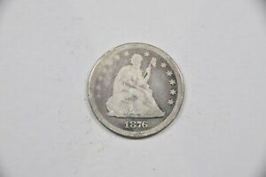 1876 SEATED LIBERTY SILVER QUARTER VG