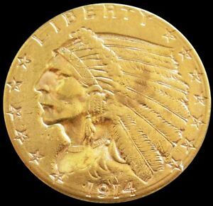 1914 D GOLD UNITED STATES $2.5 DOLLAR INDIAN HEAD QUARTER EAGLE COIN