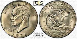 1978 $1 EISENHOWER DOLLAR IKE PCGS MS64 83868723 W/ TRUEVIEW  38G