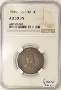 1906 CANADA ONE CENT NGC AU 58 BN; LOOKS UNC.
