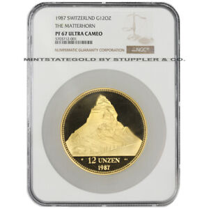 Click now to see the BUY IT NOW Price!  SWISS GOLD 1987 12OZ HELVETIA NGC PF67UCAM PROOF ROUND ULTRA CAMEO