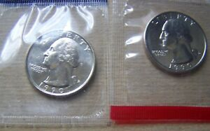 1990 P AND D UNCIRCULATED QUARTER SET IN MINT CELLO