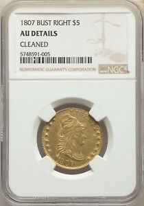 1807 $5 BUST RIGHT BD 6 HIGH R.4    CLEANED    NGC LIBERTY GOLD HALF EAGLE