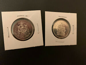 1996/97CANADA 50 CENT COAT OF ARMS BU FROM ORIGINAL  ROLL  2 COINS