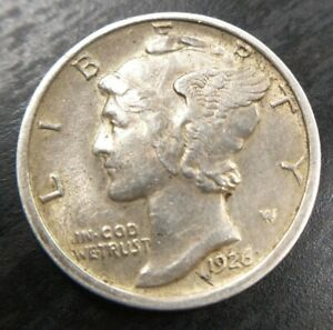 1926 D MERCURY SILVER DIME AU ABOUT UNCIRCULATED ALMOST MS KEY DATE
