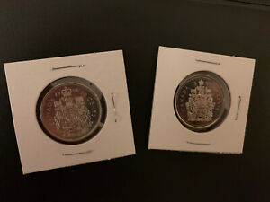 1991/99CANADA 50 CENT COAT OF ARMS BU FROM ORIGINAL  ROLL  2 COINS