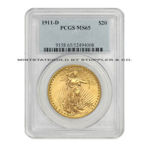 1911 D $20 GOLD SAINT GAUDENS PCGS MS65 GEM GRADE DENVER MINT DOUBLE EAGLE COIN