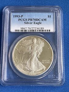1993 P $1 PROOF SILVER EAGLE PCGS PR70DCAM HIGHLY SOUGHT  UC