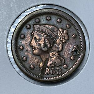 1853 1C BRAIDED HAIR LARGE CENT PENNY COIN W/ HOLE